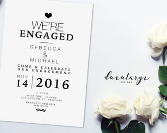 Printable Engagement Invitation - Classic Black DIY