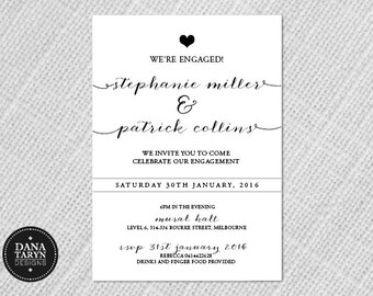 Printable Engagement Invitation - Elegant Black DIY
