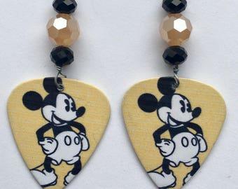 1 Pair- Mickey Mouse Guitar Pick Earrings