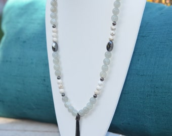 Long Tassle Necklace/Statement Necklace/Hematite/Grey and White/Bridesmaids Jewelry/Bohemian Necklace