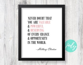 Hillary Clinton - Motivational Quote, Typography Wall Print, Handmade Office Decor