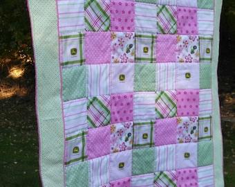 Pink John Deere Inspired Baby Girl Quilt