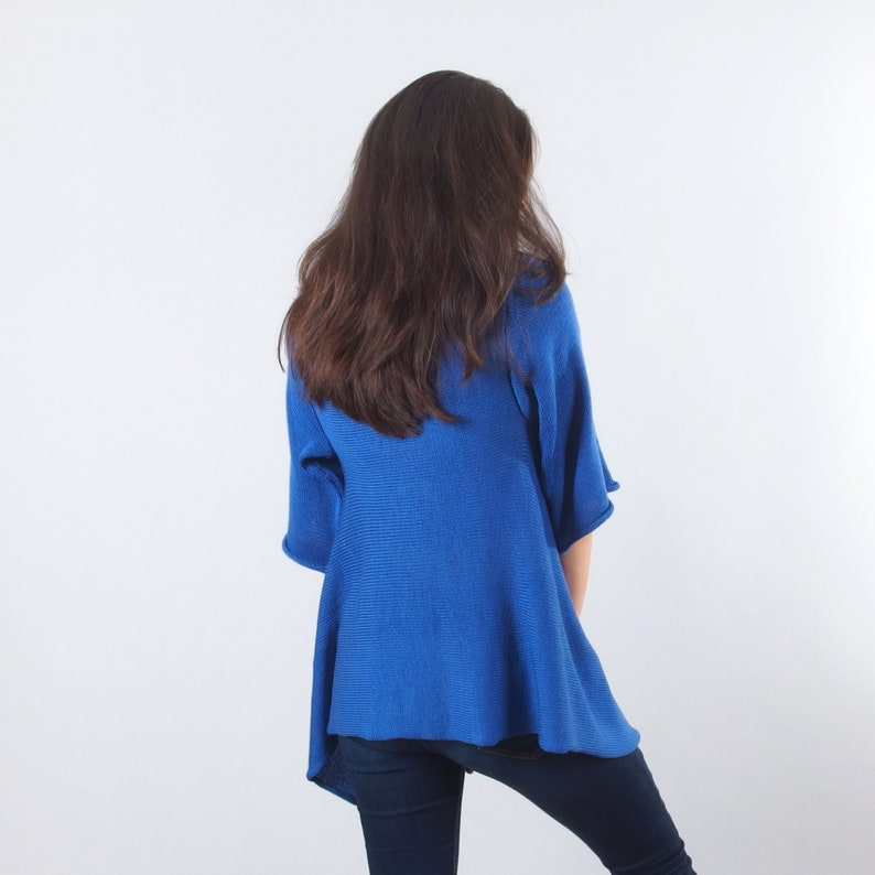 Women/'s winter cardigan Thick Draped Merino Wool cardigan Blue open front sweater warm and cozy