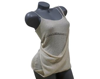 Long summer top - Crochet tank top - Elegant knit top - Womens sleeveless blouse