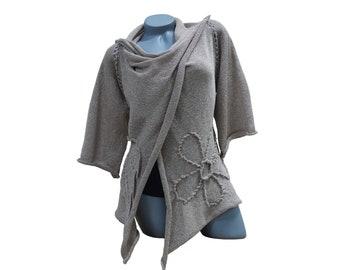 Womens cardigan sweater, Long cardigan wrap, Beige floral womens cardigan, Open front women sweater, Knit loose cardigan