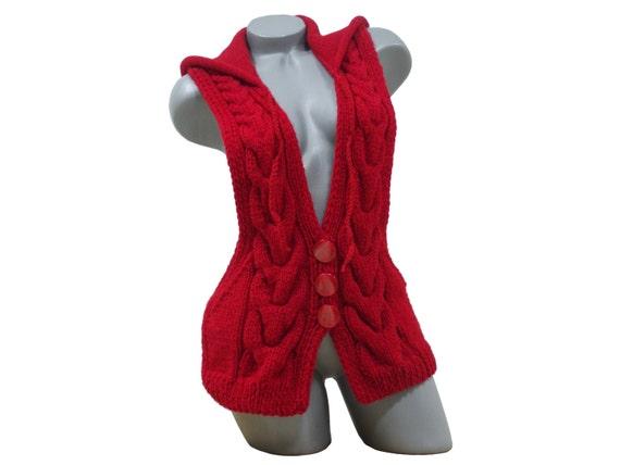 capucha de de punto con Punto Etsy rojo Cable chaqueta chaleco HXpxE0qw