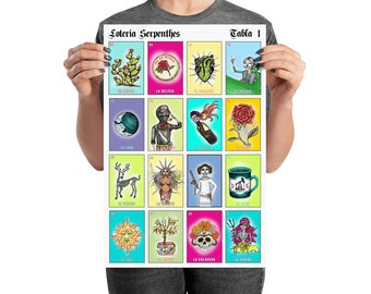 LOTERIA Serpenthes / Card 1 / Latinx Mexican Bingo Art Matte Poster Print / Various Sizes Available