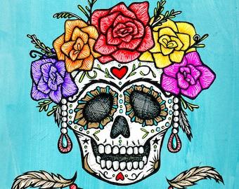 La FRIDOCHA / Frida Kahlo Inspired Sugar Skull Art by Serpenthes / Various Sizes