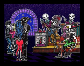 Dead Man's PARTY / Calavera Party Dia de los Muertos Art by Serpenthes / Various Sizes