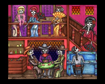Rosa Roja CANTINA / Calavera Saloon Day of the Dead Art by Serpenthes / Various Sizes