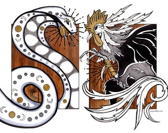 COBRA vs ROOSTER / fight! / art by Serpenthes in Various sizes