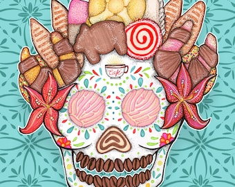 Ofrenda Pan Dulce / Mexican Bakery Calavera / Sweet Sugar Skull art in Various Sizes by Serpenthes