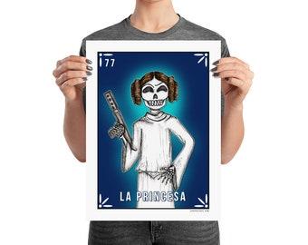 La PRINCESA / Princess Leia Calavera Loteria Card Art by Serpenthes / Various Sizes