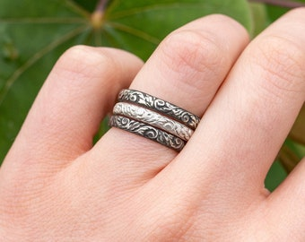 Filigree Stacking Ring-SET OF 3- Sterling Silver Vintage Stacker Band- Your Choice of Finishes-Skölland Jewelry