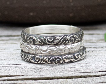 Filigree Stacking Ring- Sterling Silver Vintage Stacker Band- Your Choice of Finish-Skölland Jewelry