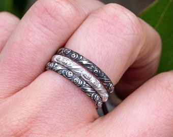 Rose Rings-SET OF 3- June Birth Flower Ring- Your Choice of Finishes-Skölland Jewelry