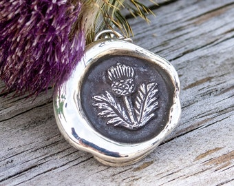 Thistle of Scotland Pendant- Vintage Outlander Inspired Wax Seal Necklace -Solid Sterling Silver-Skölland Jewelry