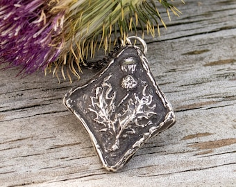 Vintage Scottish Thistle Pendant-Thistle of Scotland Necklace -Solid Sterling Silver Outlander Gift-Skölland Jewelry