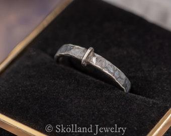 Claires Key Ring Outlander Sterling Silver-Engravable- Darkened Scottish Ring-Skölland Jewelry