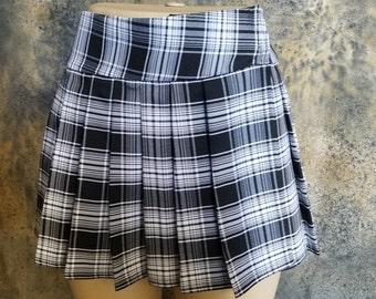 Regular Junior Black and White, Tartan, Stewart, School Girl Plaid Skirt