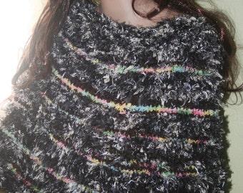 Cowl stripes Hairy Knit Handknit White Capelet Black Gray Heather Eyelash