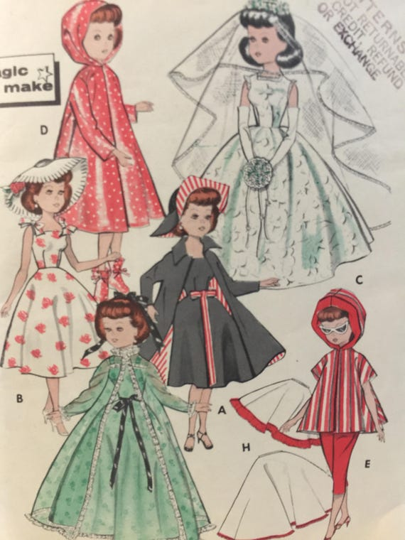 c6204de8703 1958 Doll Clothes Butterick 8353 10 1 2 Doll Sewing