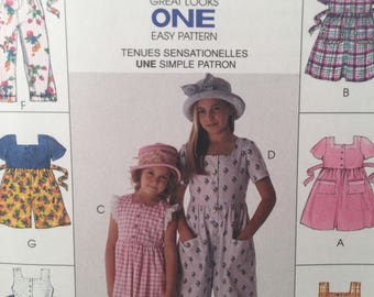 1990s Girl's Dress, McCall's 8748, Sewing Pattern, Jumpsuit, Romper, School Dress, Sleeveless Dress, Long Jumpsuit, Short Jumpsuit Dress