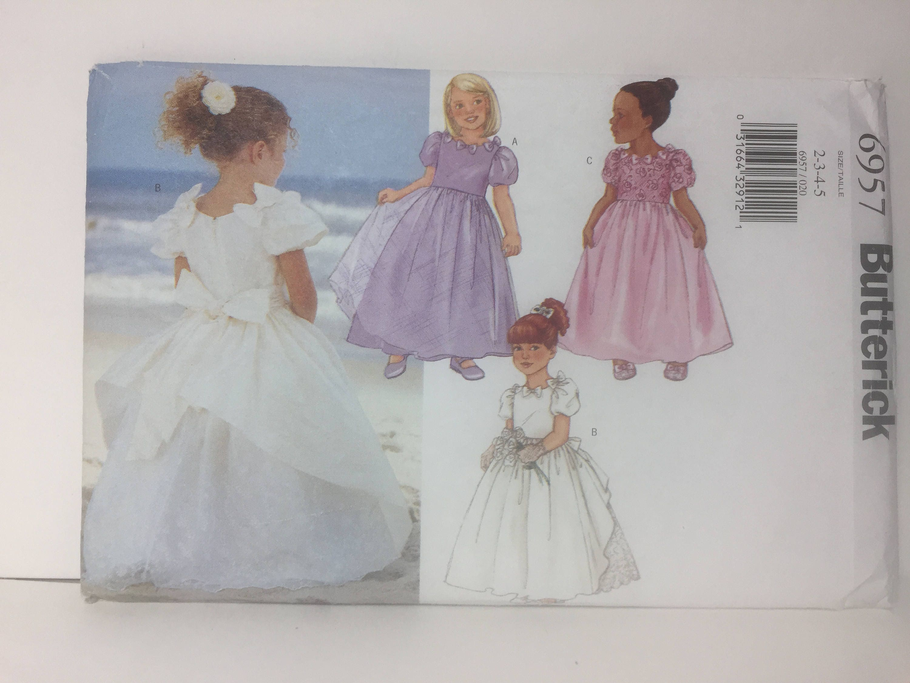 Girl s Dress Butterick 6957 Sewing Pattern Wedding