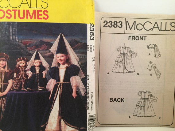 """Uncut McCalls 2383 18/"""" Girl Doll Matching Pattern Medieval Costumes Size 6-7-8"""