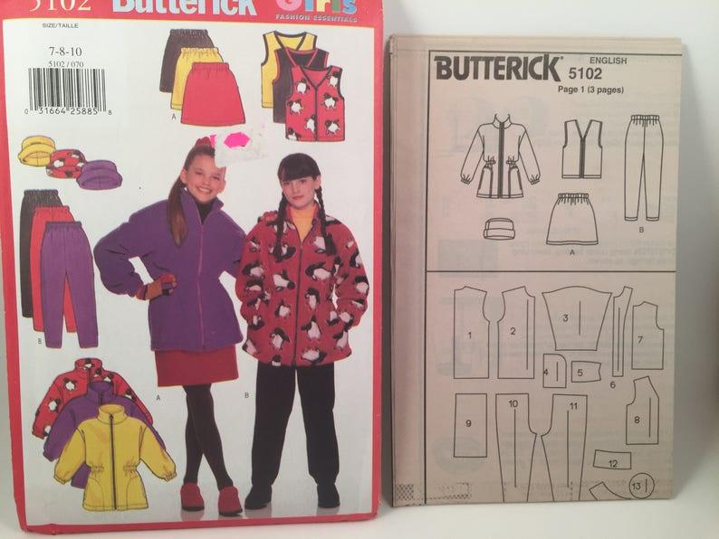 Winter Fleece Hats Vest Butterick 5102 Zipper Vest 1990s Girls Fleece Jacket Sewing Pattern Below Hip Jacket Pants A Line Skirt