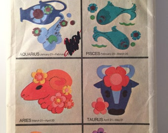 Astrology Transfer Patterns, Simplicity 8431, Applique Patterns, Zodiac Signs, Embroidery Appliques, Pisces, Aries, Gemini, Cancer, Libra
