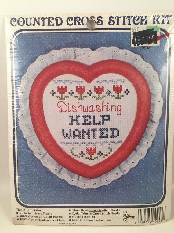 Country Kitchen Decor,Needlework Kit,Beginner Cross Stitch Counted Cross Stitch Kit Dishwashing Help Wanted,Heart Frame The New Berlin Co