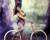 Marilyn Monroe Vintage Pin-up Poster Sexy Riding a Bicycle with Victorian Hat Impersonating Lillian Russell Photo Hot Pinup Bike Art Print