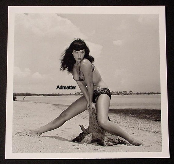 Bettie Page fetish model on Beach POSTER