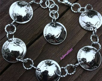 60th Birthday Gift for Women 1958 SILVER Dime Bracelet 60th Anniversary Gift Coin Jewelry Coin Bracelet Sterling Silver Charm Bracelet
