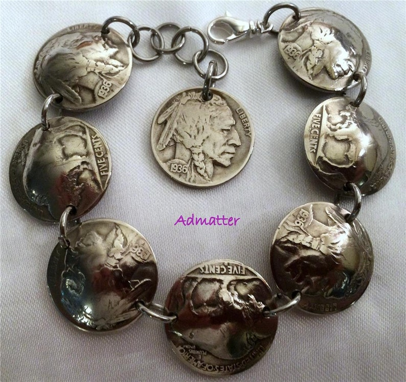 1935 Indian Head Buffalo Nickel Bracelet 83rd Birthday Gift