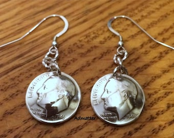 1948 70th Birthday STERLING SILVER Dime Earrings W/ Solid Sterling French Hook Earwires Select any Year! Coin Jewelry 1953 1958 1963