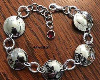 1961 Silver Dime Bracelet 60th Birthday Very Strong! Genuine Swarovski Birthstone Charm 60 Anniversary Birthday Gifts For Women Coin Jewelry