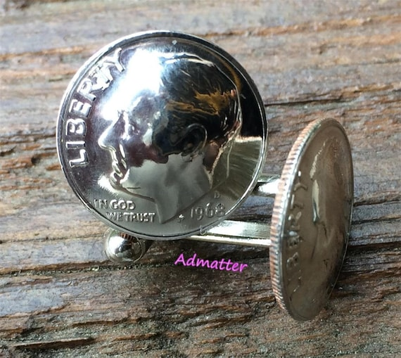 SILVER DIME CUFF-LINKS PICK ANY YEAR 60 65 70 BIRTHDAY GIFT 1959 50th ANIVERSARY