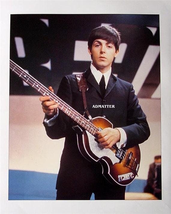 Beatles Paul McCartney Playing Hofner Bass Guitar Vintage