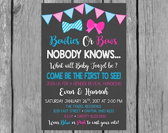 Gender Reveal Baby Shower Invitation/Bowties or Bows