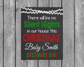 Christmas Pregnancy Announcement Chalkboard Printable File