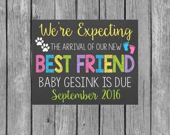 Pregnancy Announcement Chalkboard Customized Printable File - Pregnancy Reveal - Dog Pregnancy Announcement