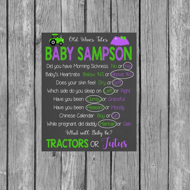 Old Wives Tales Gender Reveal Baby Shower Chalkboard - Tractors or Tutus  Gender Reveal Party