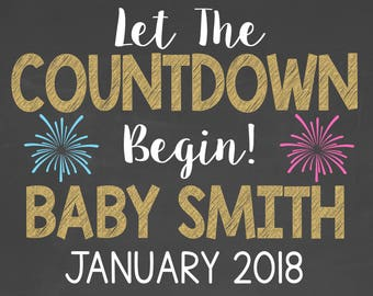 Let the Countdown Begin Personalized Pregnancy Announcement // New Years Pregnancy Announcement