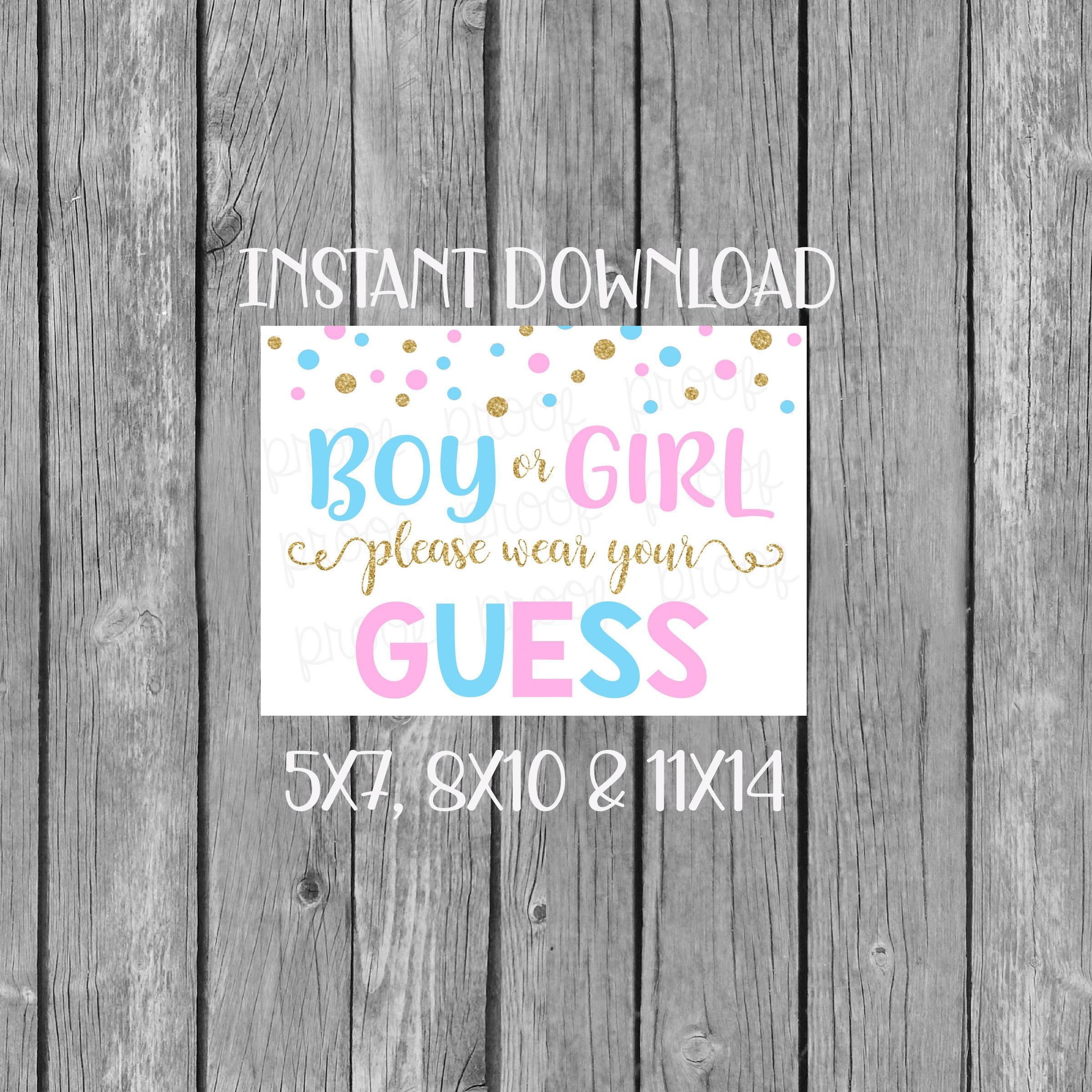 Gender Reveal Decorations Instant Download Wear Your Guess Gender Reveal Party He Or She Printable Party Sign 8x10 Jpg Blue Or Pink Wall Hangings Home Living Vadel Com