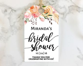 printable bridal shower favor tags boho floral personalized boho bridal shower favors pdf customizable print cut gift tag template