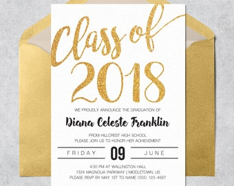 printable graduation invitation class of 2018 gold glitter instant download customizable and printable graduation invite template