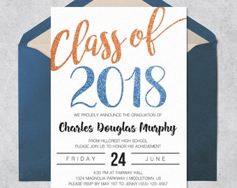 printable graduation invitation class of 2018 orange blue glitter instant download customizable and printable graduation invite template
