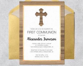 Printable First Communion Invitation - Wood Grain - Instant Download Customizable Printable Communion Party Invitation PDF Template